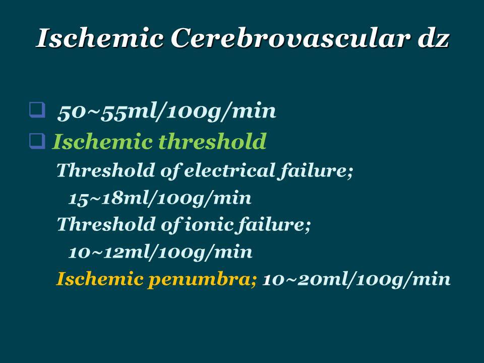  50~55ml/100g/min  Ischemic threshold Threshold of electrical failure; 15~18ml/100g/min Threshold of ionic failure; 10~12ml/100g/min Ischemic penumb