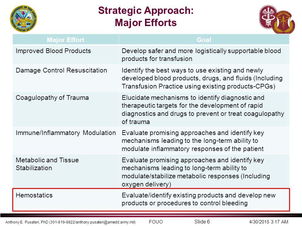 Anthony E. Pusateri, PhD (301-619-9822/anthony.pusateri@amedd.army.mil) FOUO 4/30/2015 3:17 AM Slide 6 Strategic Approach: Major Efforts Major EffortG