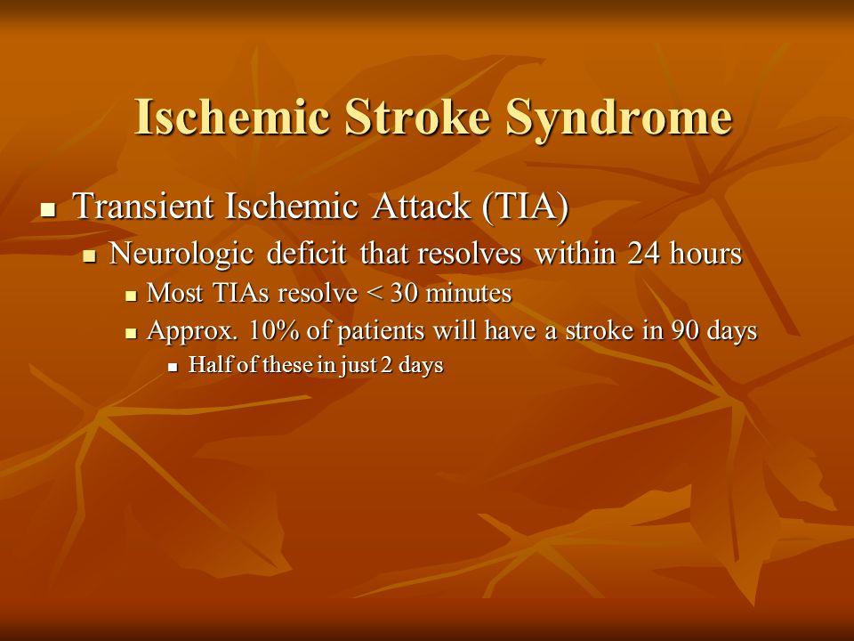 Transient Ischemic Attack (TIA) Transient Ischemic Attack (TIA) Neurologic deficit that resolves within 24 hours Neurologic deficit that resolves with