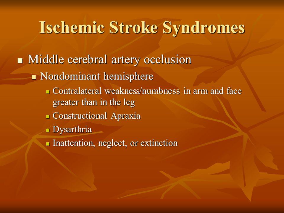 Ischemic Stroke Syndromes Middle cerebral artery occlusion Middle cerebral artery occlusion Nondominant hemisphere Nondominant hemisphere Contralatera