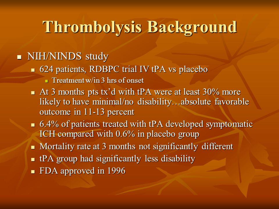 Thrombolysis Background NIH/NINDS study NIH/NINDS study 624 patients, RDBPC trial IV tPA vs placebo 624 patients, RDBPC trial IV tPA vs placebo Treatm