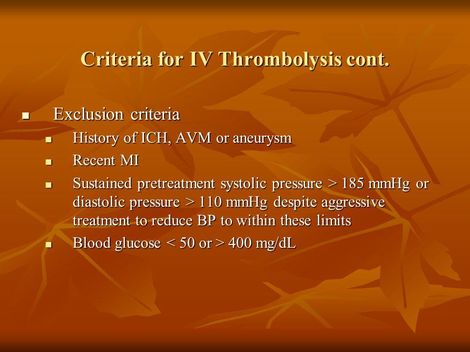 Exclusion criteria Exclusion criteria History of ICH, AVM or aneurysm History of ICH, AVM or aneurysm Recent MI Recent MI Sustained pretreatment systo