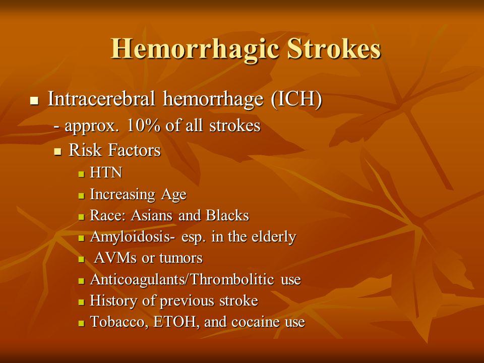 Hemorrhagic Strokes Intracerebral hemorrhage (ICH) Intracerebral hemorrhage (ICH) - approx. 10% of all strokes Risk Factors Risk Factors HTN HTN Incre