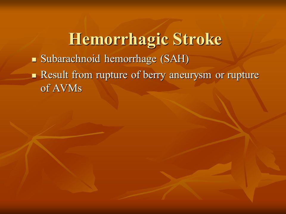 Subarachnoid hemorrhage (SAH) Subarachnoid hemorrhage (SAH) Result from rupture of berry aneurysm or rupture of AVMs Result from rupture of berry aneu