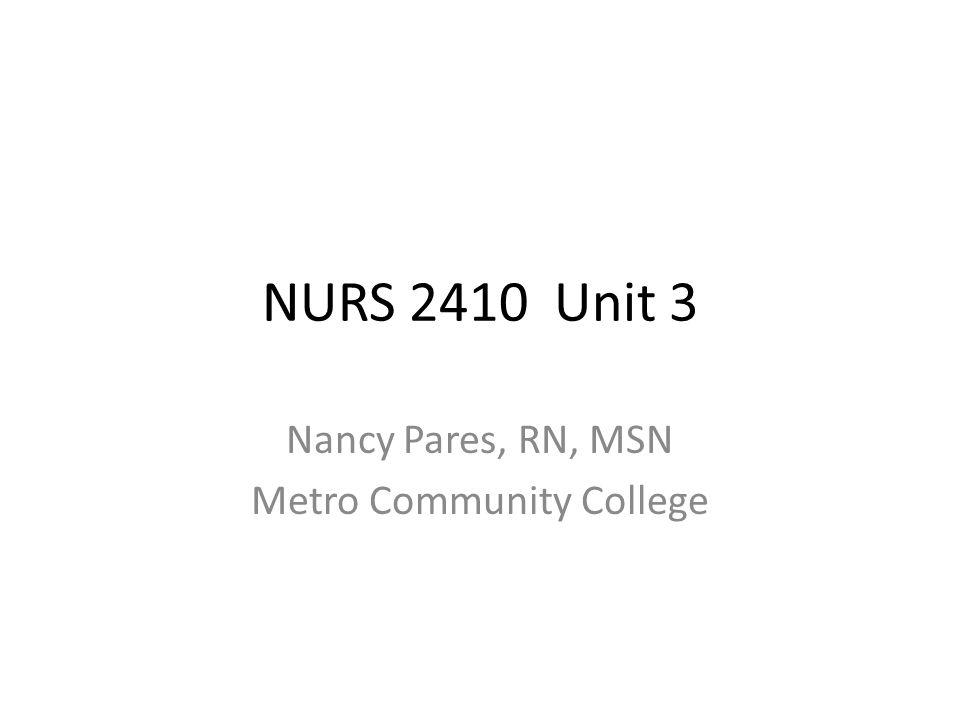NURS 2410 Unit 3 Nancy Pares, RN, MSN Metro Community College