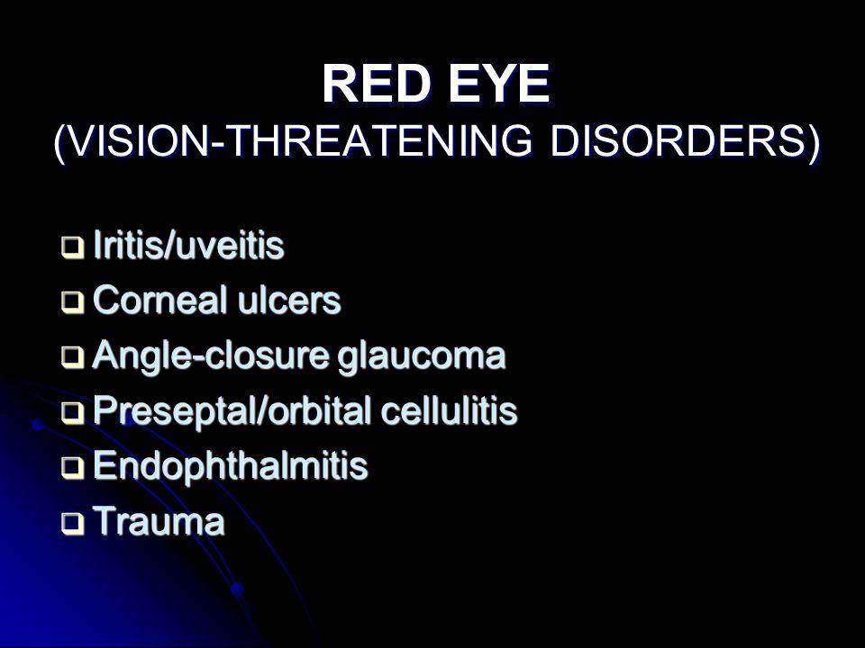 RED EYE (VISION-THREATENING DISORDERS)  Iritis/uveitis  Corneal ulcers  Angle-closure glaucoma  Preseptal/orbital cellulitis  Endophthalmitis  T