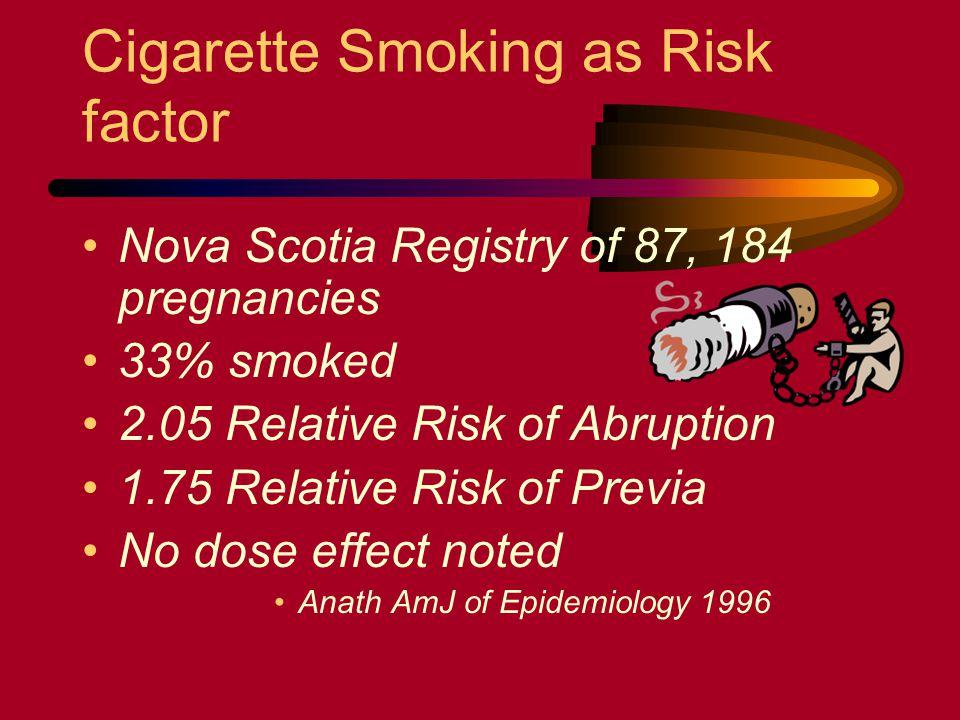 Cigarette Smoking as Risk factor Nova Scotia Registry of 87, 184 pregnancies 33% smoked 2.05 Relative Risk of Abruption 1.75 Relative Risk of Previa N