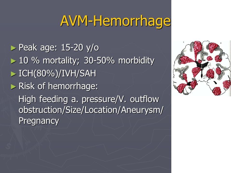 AVM-Hemorrhage ► Peak age: 15-20 y/o ► 10 % mortality; 30-50% morbidity ► ICH(80%)/IVH/SAH ► Risk of hemorrhage: High feeding a.