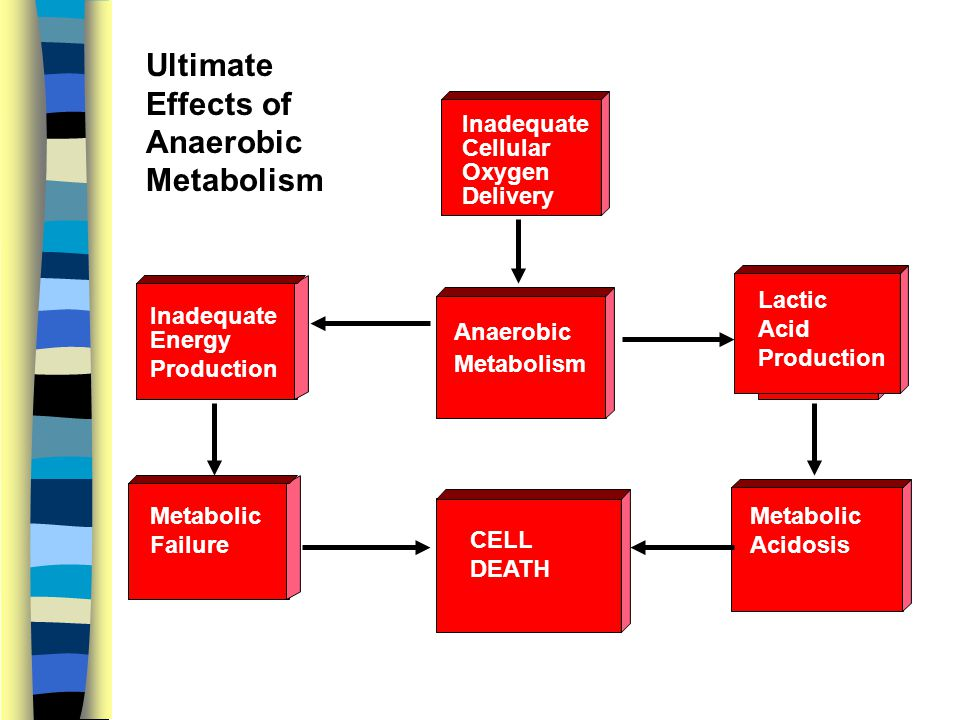 Inadequate Cellular Oxygen Delivery Anaerobic Metabolism Inadequate Energy Production Metabolic Failure Lactic Acid Production Metabolic Acidosis CELL DEATH Ultimate Effects of Anaerobic Metabolism