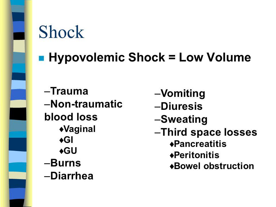 Shock n Hypovolemic Shock = Low Volume –Trauma –Non-traumatic blood loss  Vaginal  GI  GU –Burns –Diarrhea –Vomiting –Diuresis –Sweating –Third space losses  Pancreatitis  Peritonitis  Bowel obstruction