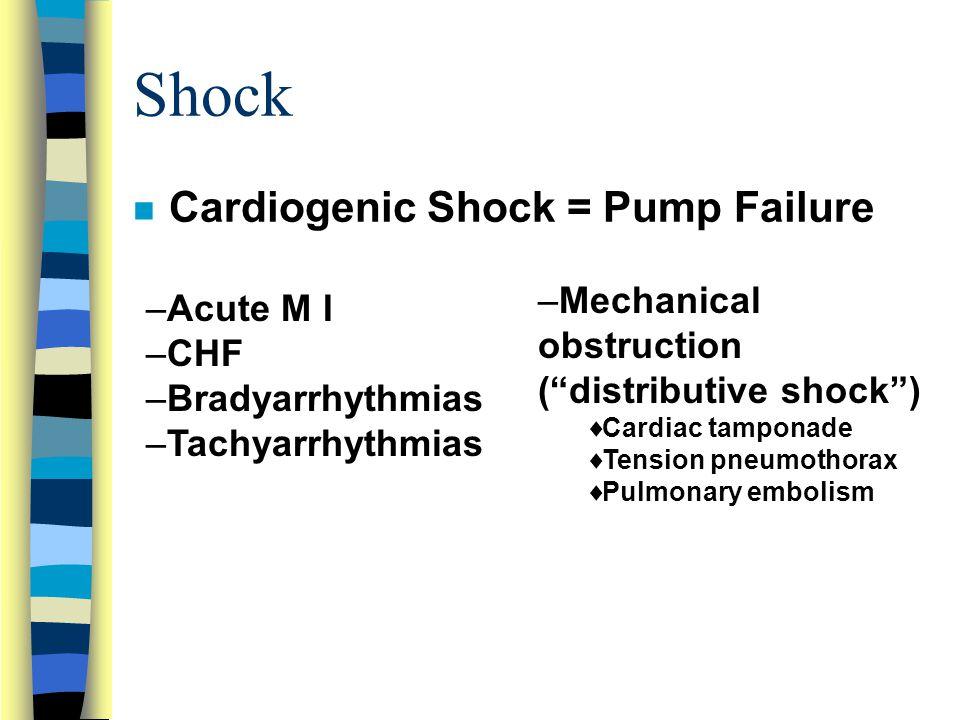 Shock n Cardiogenic Shock = Pump Failure –Acute M I –CHF –Bradyarrhythmias –Tachyarrhythmias –Mechanical obstruction ( distributive shock )  Cardiac tamponade  Tension pneumothorax  Pulmonary embolism