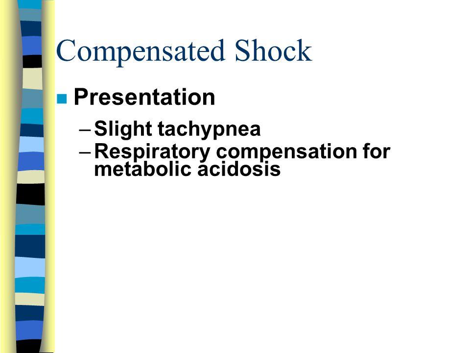 Compensated Shock n Presentation –Slight tachypnea –Respiratory compensation for metabolic acidosis