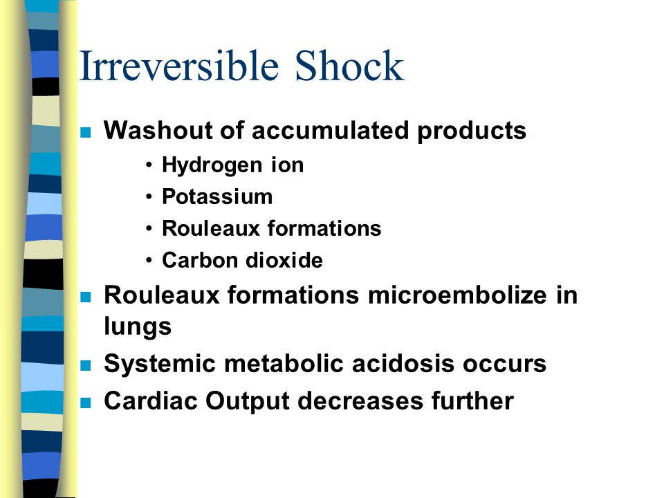 Irreversible Shock n Washout of accumulated products Hydrogen ion Potassium Rouleaux formations Carbon dioxide n Rouleaux formations microembolize in lungs n Systemic metabolic acidosis occurs n Cardiac Output decreases further