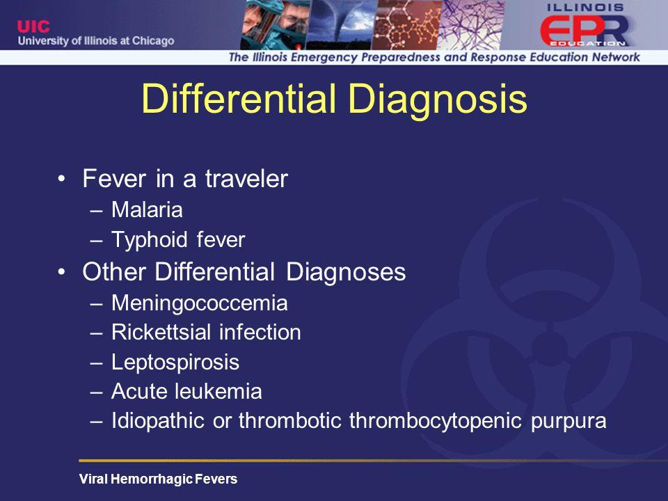 Viral Hemorrhagic Fevers Hospital Course Hospital Day #4 –Despite empiric antibiotics including antimalarials, pt develops acute respiratory distress syndrome (ARDS) –Required intubation