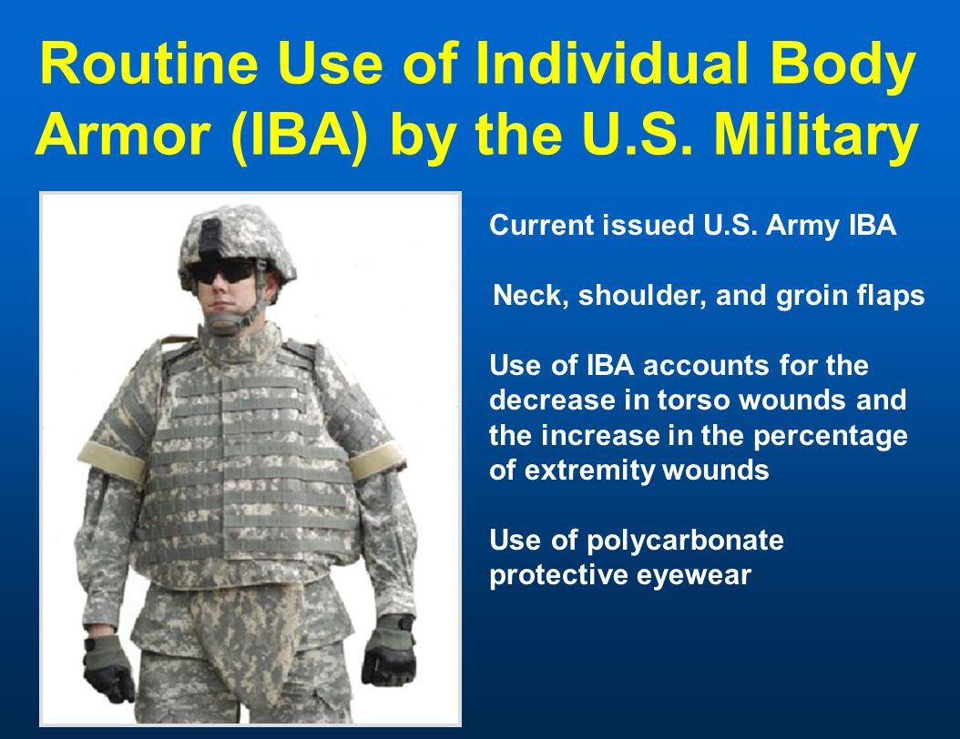 Routine Use of Individual Body Armor (IBA) by the U.S. Military Current issued U.S. Army IBA Neck, shoulder, and groin flaps Use of IBA accounts for t