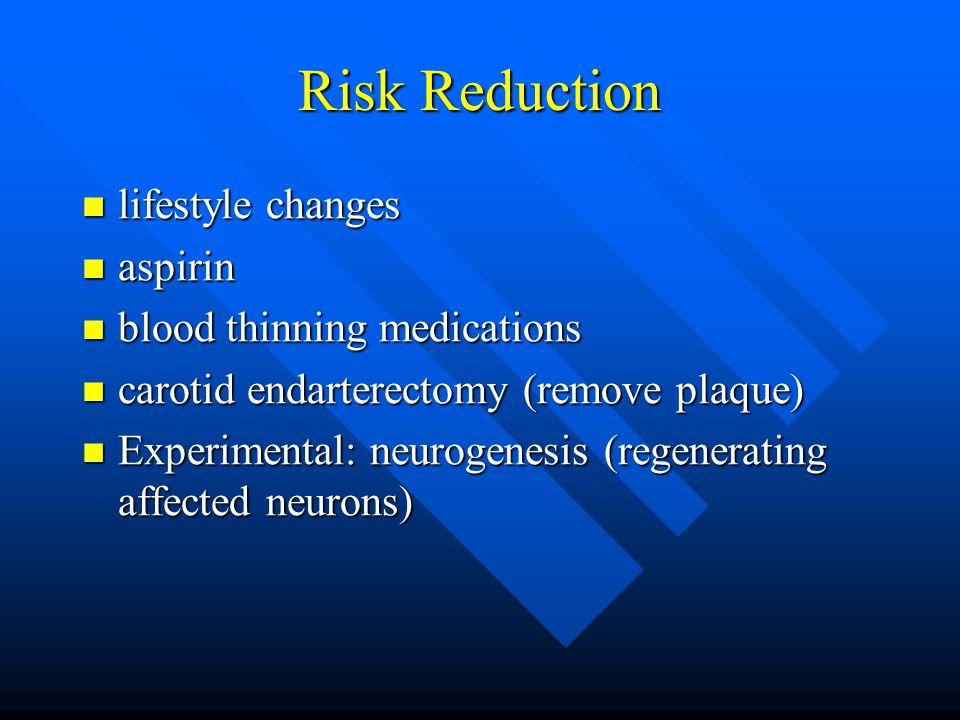 Risk Reduction lifestyle changes lifestyle changes aspirin aspirin blood thinning medications blood thinning medications carotid endarterectomy (remove plaque) carotid endarterectomy (remove plaque) Experimental: neurogenesis (regenerating affected neurons) Experimental: neurogenesis (regenerating affected neurons)