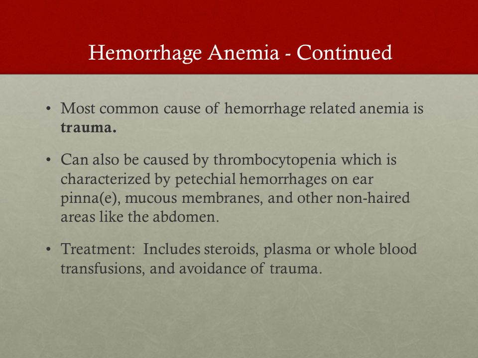 Most common cause of hemorrhage related anemia is trauma.