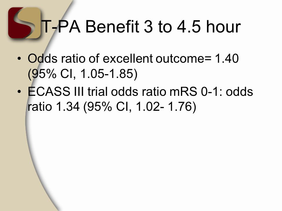 T-PA Benefit 3 to 4.5 hour Odds ratio of excellent outcome= 1.40 (95% CI, 1.05-1.85) ECASS III trial odds ratio mRS 0-1: odds ratio 1.34 (95% CI, 1.02