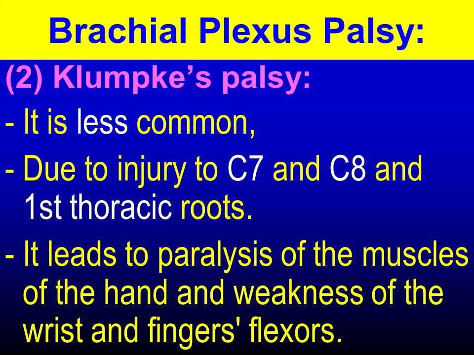 (2) Klumpke's palsy: -It is less common, -Due to injury to C7 and C8 and 1st thoracic roots.