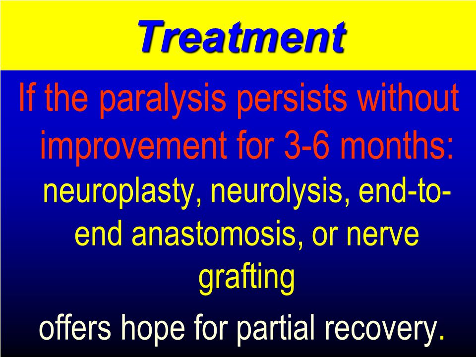 If the paralysis persists without improvement for 3-6 months: neuroplasty, neurolysis, end-to- end anastomosis, or nerve grafting offers hope for partial recovery.