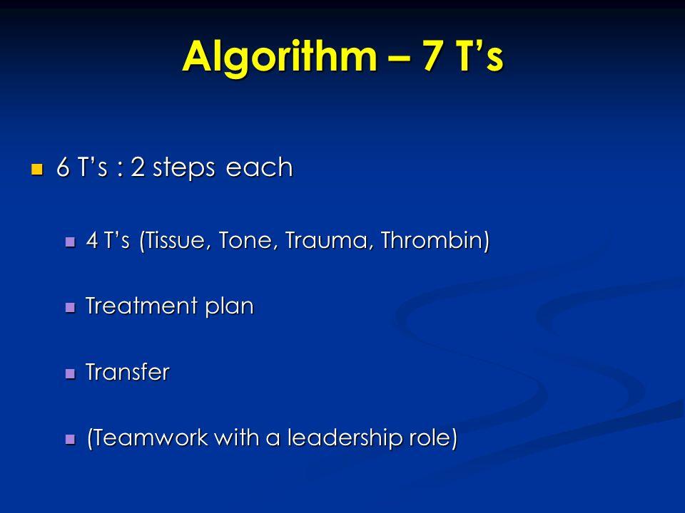 Algorithm – 7 T's 6 T's : 2 steps each 6 T's : 2 steps each 4 T's (Tissue, Tone, Trauma, Thrombin) 4 T's (Tissue, Tone, Trauma, Thrombin) Treatment pl