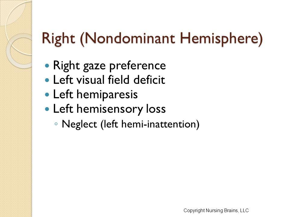 Right (Nondominant Hemisphere) Right gaze preference Left visual field deficit Left hemiparesis Left hemisensory loss ◦ Neglect (left hemi-inattention) Copyright Nursing Brains, LLC