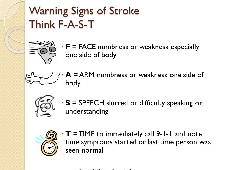 Warning Signs of Stroke Think F-A-S-T  F = FACE numbness or weakness especially one side of body  A = ARM numbness or weakness one side of body  S = SPEECH slurred or difficulty speaking or understanding  T = TIME to immediately call 9-1-1 and note time symptoms started or last time person was seen normal Copyright Nursing Brains, LLC