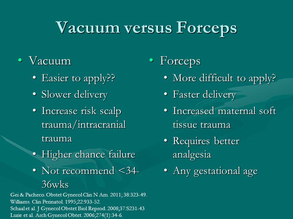 Vacuum versus Forceps Vacuum Vacuum Easier to apply?? Easier to apply?? Slower delivery Slower delivery Increase risk scalp trauma/intracranial trauma
