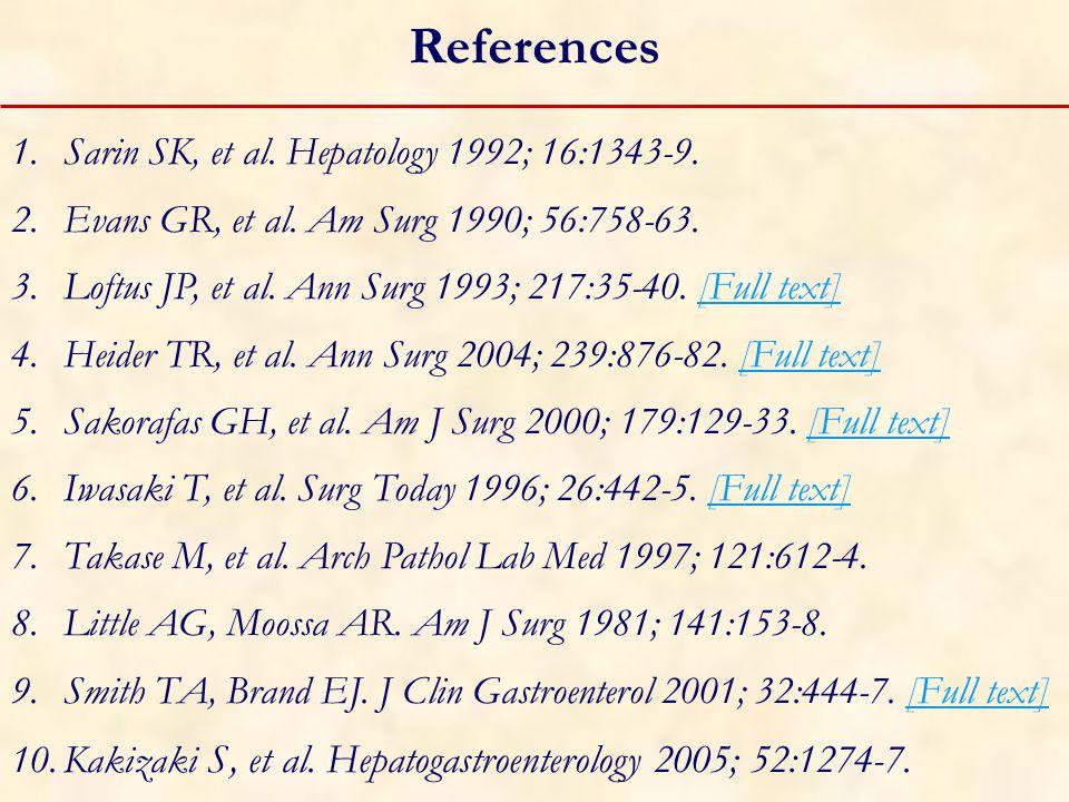 References 1.Sarin SK, et al. Hepatology 1992; 16:1343-9.