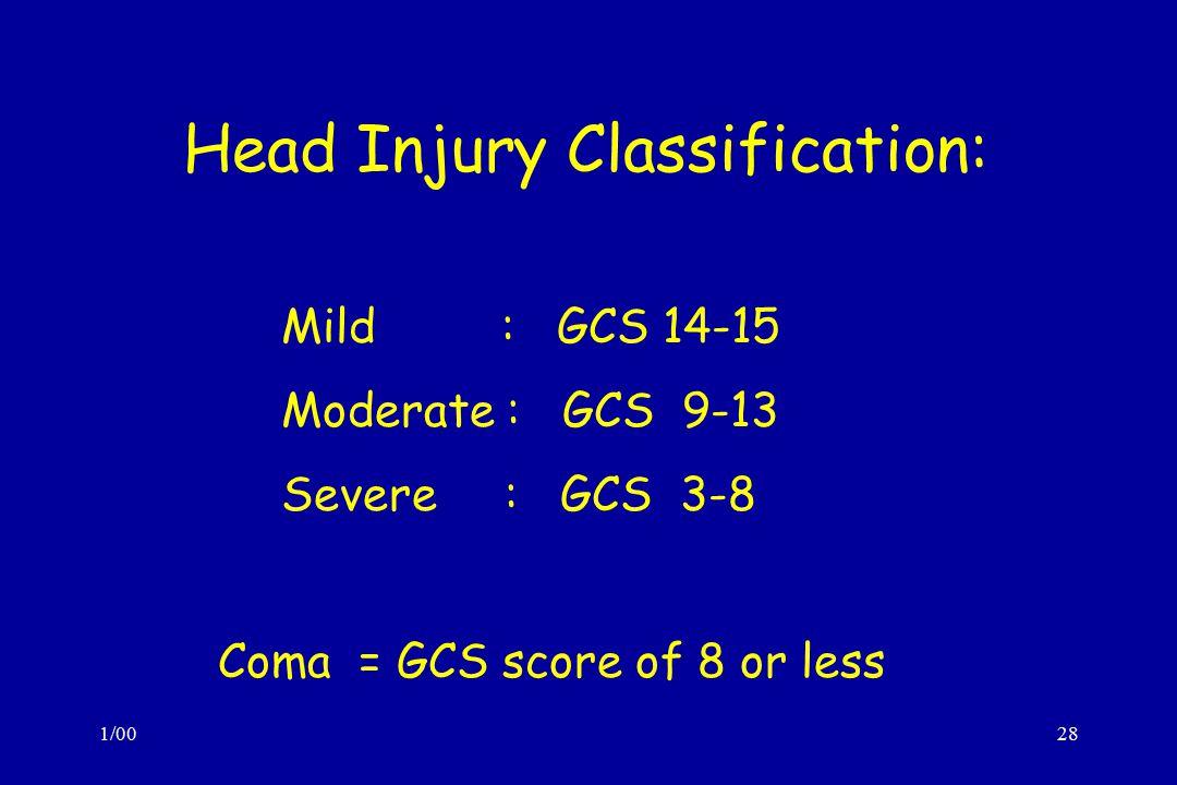 1/0028 Head Injury Classification: Mild : GCS 14-15 Moderate : GCS 9-13 Severe : GCS 3-8 Coma = GCS score of 8 or less