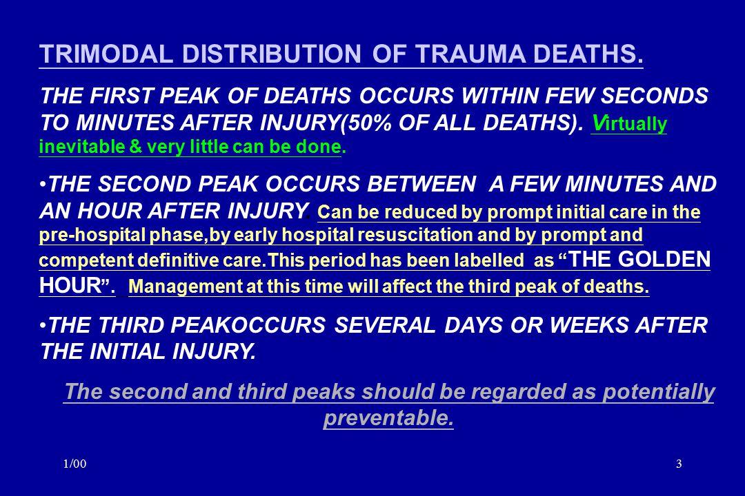1/003 TRIMODAL DISTRIBUTION OF TRAUMA DEATHS.