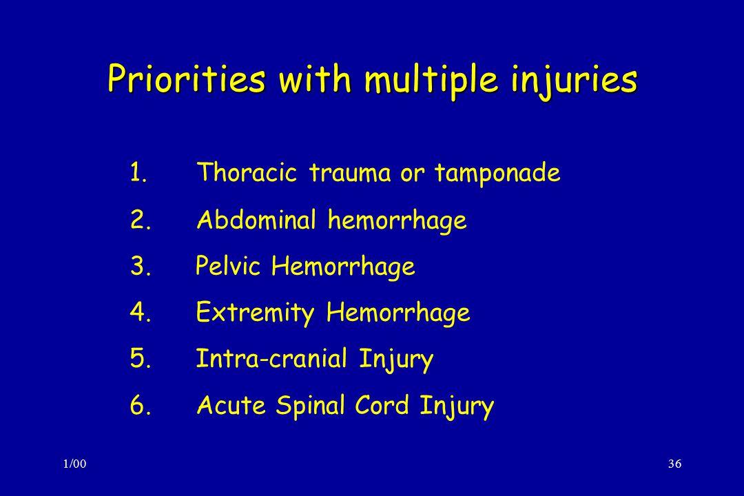 1/0036 Priorities with multiple injuries 1.Thoracic trauma or tamponade 2.Abdominal hemorrhage 3.Pelvic Hemorrhage 4.Extremity Hemorrhage 5.Intra-cranial Injury 6.Acute Spinal Cord Injury