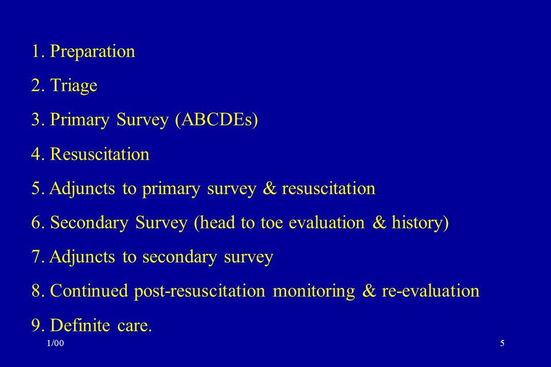1/005 1.Preparation 2. Triage 3. Primary Survey (ABCDEs) 4.