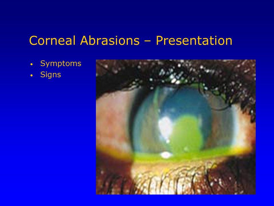 Corneal Abrasions – Presentation Symptoms Signs