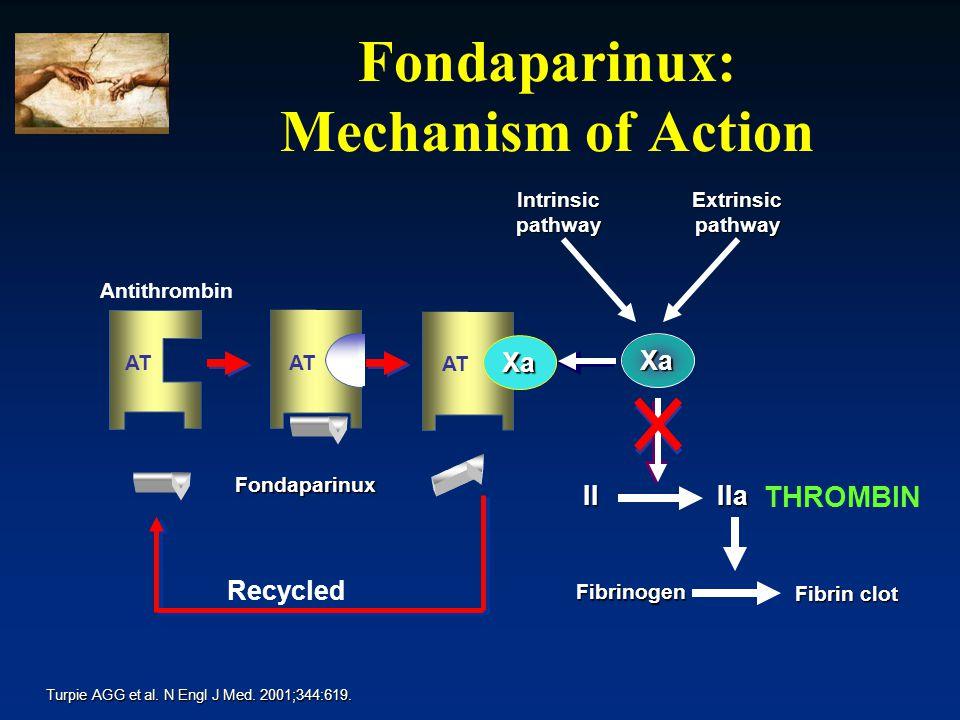 IIaII Fibrinogen Fibrin clot Extrinsic pathway Intrinsicpathway AT Xa Fondaparinux Xa Antithrombin Fondaparinux: Mechanism of Action Turpie AGG et al.