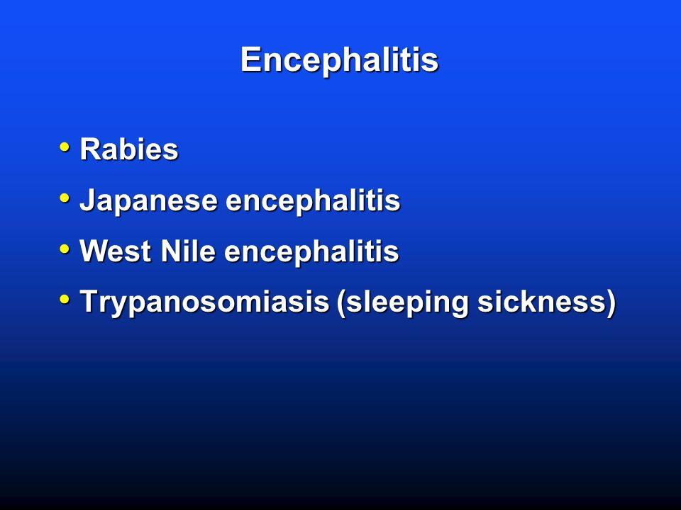 Encephalitis Rabies Rabies Japanese encephalitis Japanese encephalitis West Nile encephalitis West Nile encephalitis Trypanosomiasis (sleeping sickness) Trypanosomiasis (sleeping sickness)
