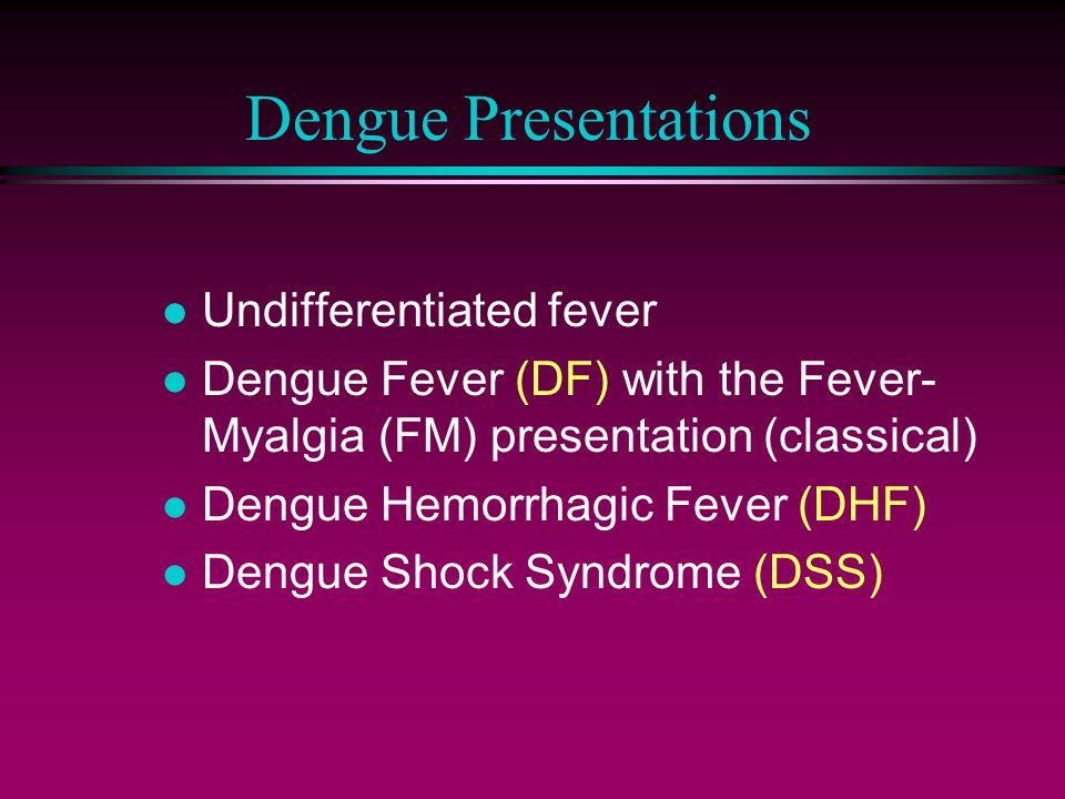 Dengue Presentations l Undifferentiated fever l Dengue Fever (DF) with the Fever- Myalgia (FM) presentation (classical) l Dengue Hemorrhagic Fever (DHF) l Dengue Shock Syndrome (DSS)