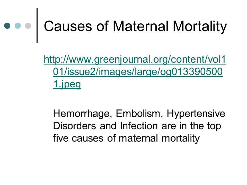 Causes of Maternal Mortality http://www.greenjournal.org/content/vol1 01/issue2/images/large/og013390500 1.jpeg Hemorrhage, Embolism, Hypertensive Dis