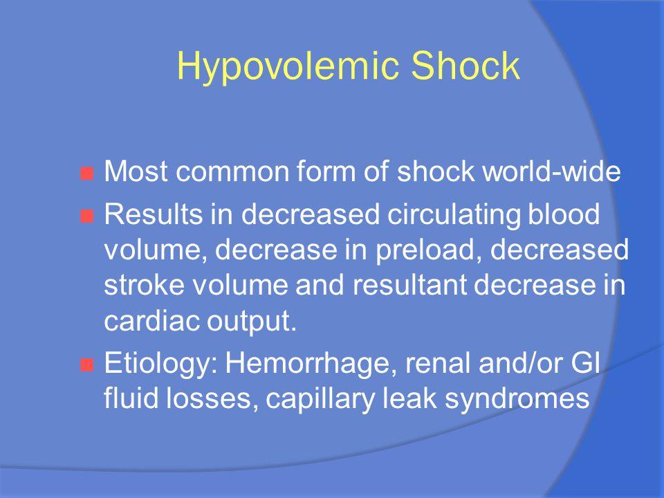 Hypovolemic Shock n Most common form of shock world-wide n Results in decreased circulating blood volume, decrease in preload, decreased stroke volume