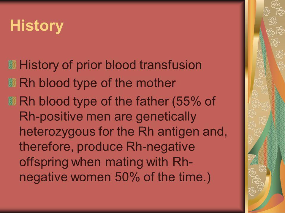 History History of prior blood transfusion Rh blood type of the mother Rh blood type of the father (55% of Rh-positive men are genetically heterozygou