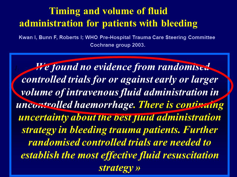 Timing and volume of fluid administration for patients with bleeding 1.« We found no evidence from randomised controlled trials for or against early o