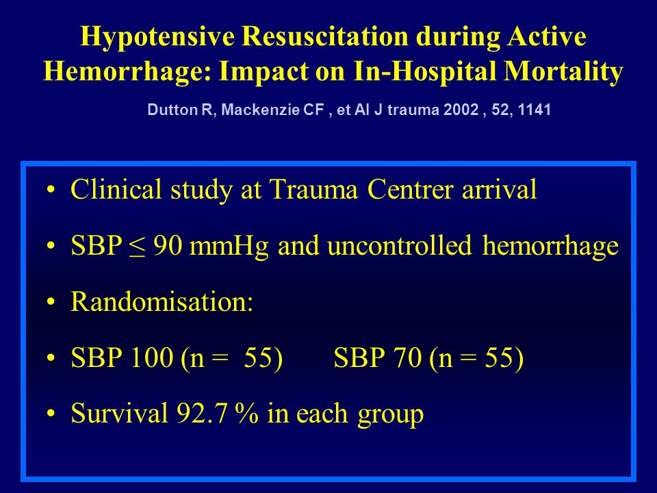 Hypotensive Resuscitation during Active Hemorrhage: Impact on In-Hospital Mortality Clinical study at Trauma Centrer arrival SBP ≤ 90 mmHg and uncontr