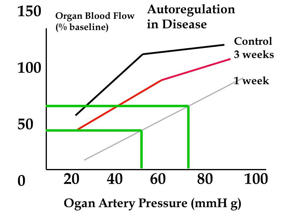 20 40 60 80 100 Organ Artery Pressure (mmH g) Organ Blood Flow (% baseline) 150 100 50 0 Autoregulation in Disease Control 3 weeks 1 week
