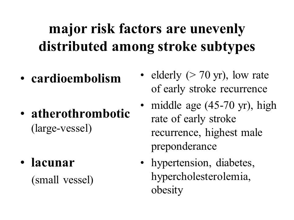 major risk factors are unevenly distributed among stroke subtypes cardioembolism atherothrombotic (large-vessel) lacunar (small vessel) elderly (> 70 yr), low rate of early stroke recurrence middle age (45-70 yr), high rate of early stroke recurrence, highest male preponderance hypertension, diabetes, hypercholesterolemia, obesity