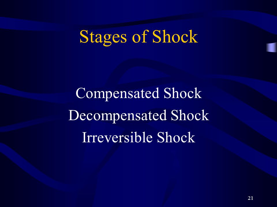 21 Stages of Shock Compensated Shock Decompensated Shock Irreversible Shock