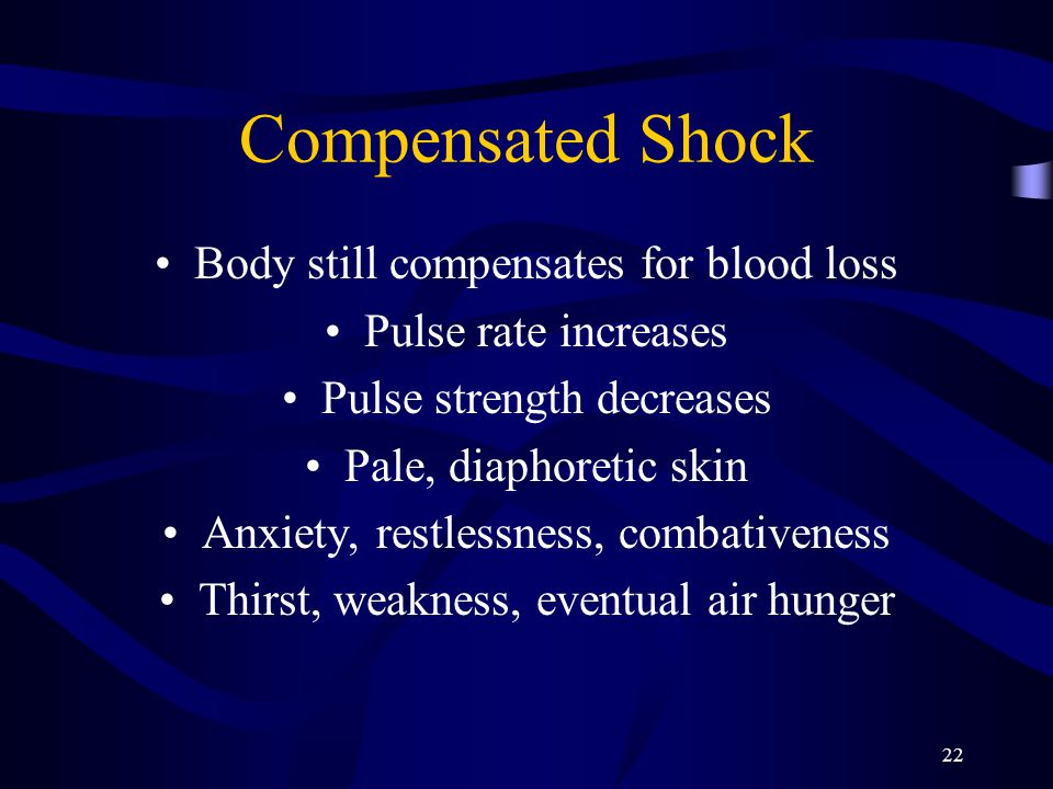 22 Compensated Shock Body still compensates for blood loss Pulse rate increases Pulse strength decreases Pale, diaphoretic skin Anxiety, restlessness, combativeness Thirst, weakness, eventual air hunger