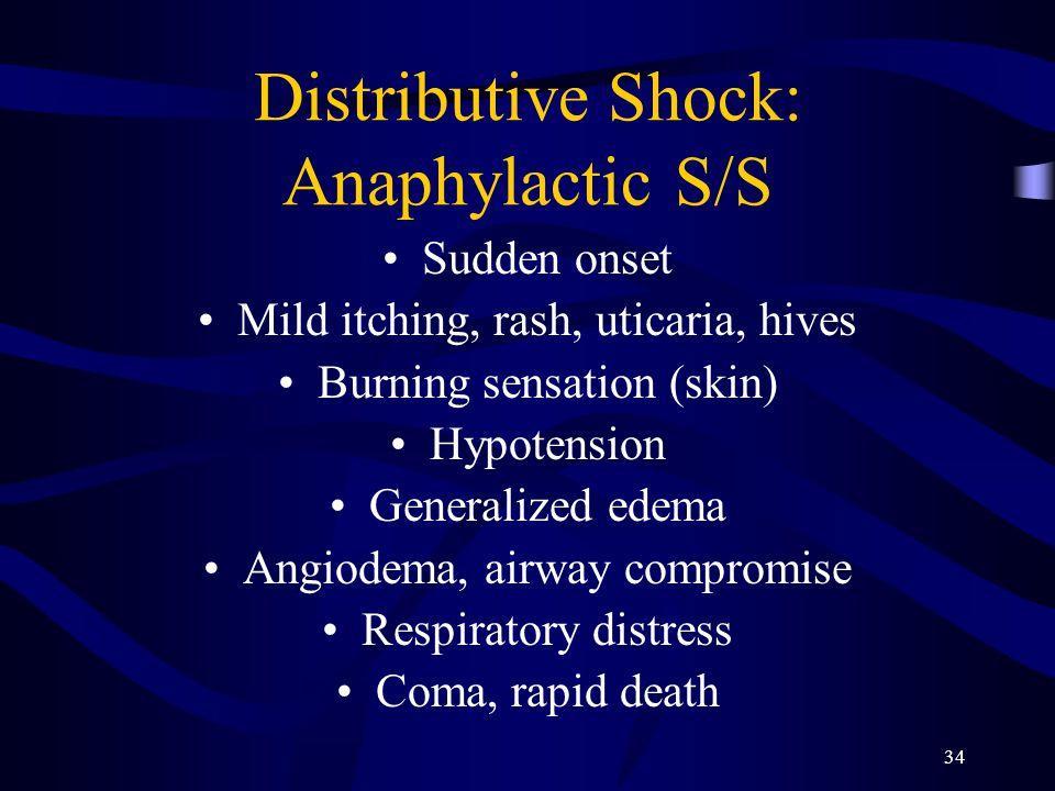 34 Distributive Shock: Anaphylactic S/S Sudden onset Mild itching, rash, uticaria, hives Burning sensation (skin) Hypotension Generalized edema Angiod