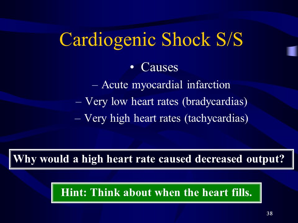 38 Cardiogenic Shock S/S Causes –Acute myocardial infarction –Very low heart rates (bradycardias) –Very high heart rates (tachycardias) Why would a high heart rate caused decreased output.