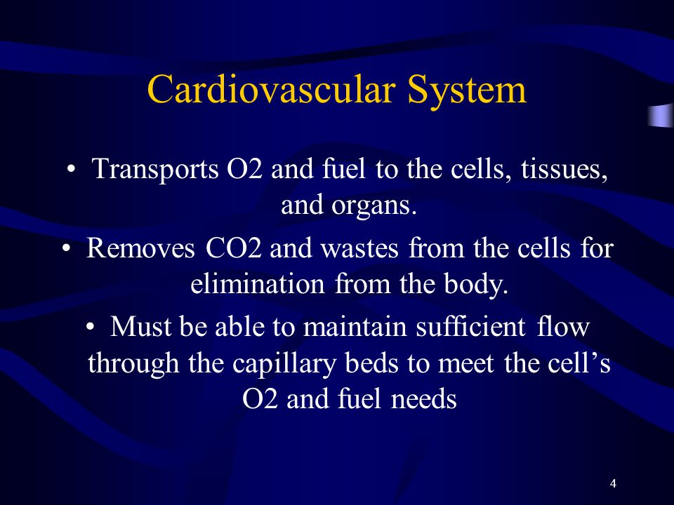 4 Cardiovascular System Transports O2 and fuel to the cells, tissues, and organs. Removes CO2 and wastes from the cells for elimination from the body.