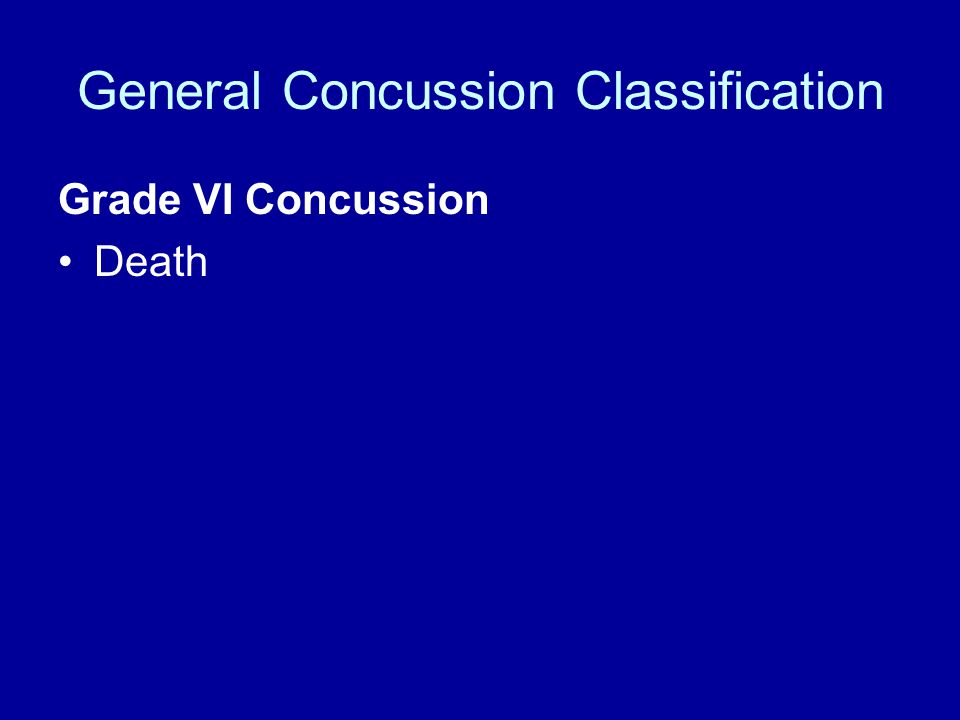 General Concussion Classification Grade VI Concussion Death